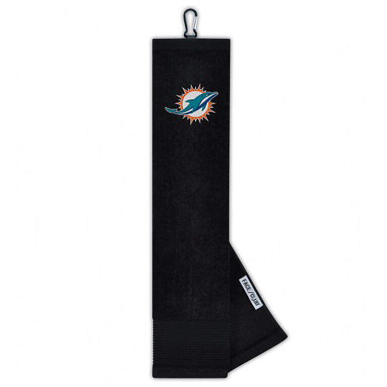 Team Effort Miami Dolphins Face/Club Tri-Fold Embroidered Towel