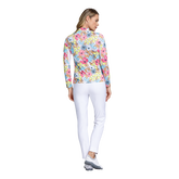 Alternate View 2 of Fun in the Sun Collection: Floral Print Long Sleeve Quarter Zip Pull Over