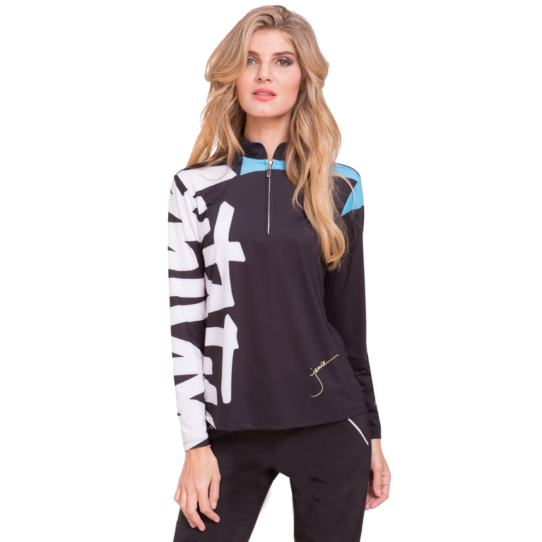 Sunsense Doodle Print Quarter Zip Pull Over