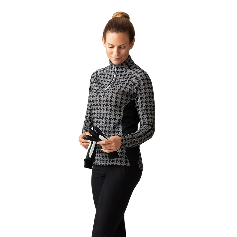 Monochrome Check Collection: Long Sleeve Houndstooth Quarter Zip Pull Over