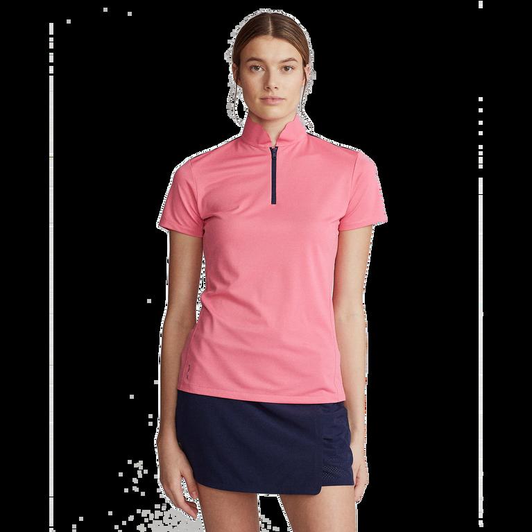 Short Sleeve Mesh Mix Quarter Zip Polo Shirt