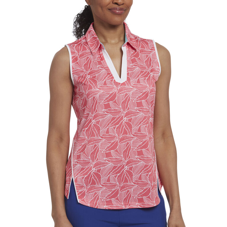 Rose Group: Sleeveless Leaf Print Polo