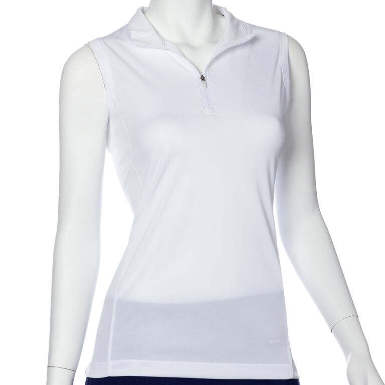 Treasure Island Group: Sleeveless Contrast Trim Convertible Collar Polo