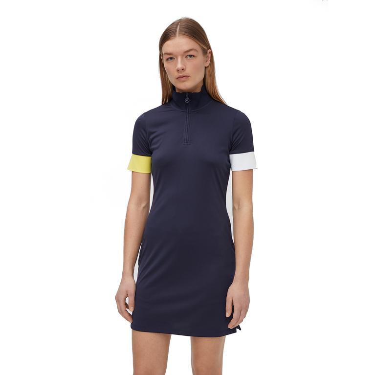 Ines Short Sleeve Mock Neck Dress