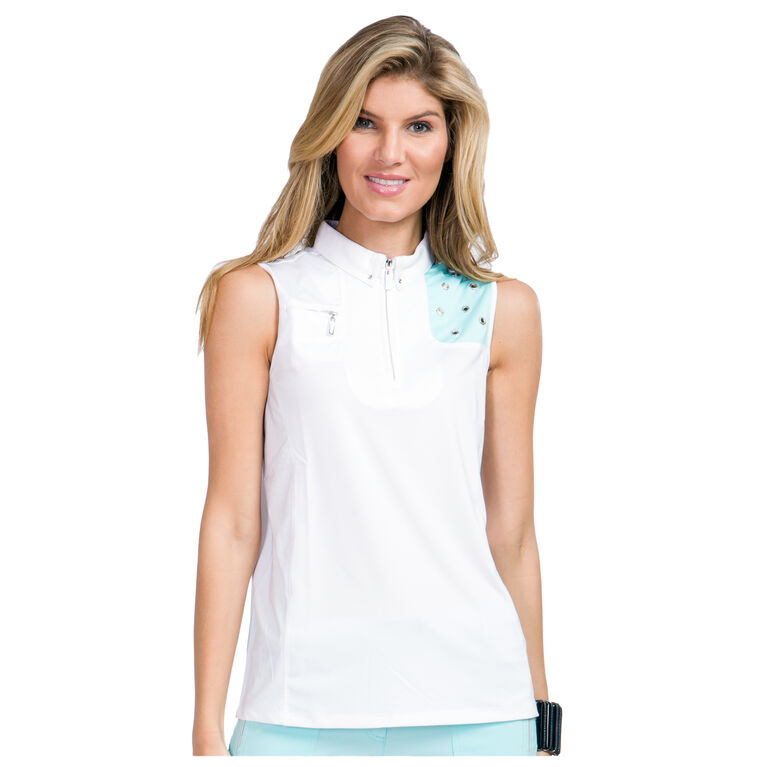 Pacifica Group: Sleeveless Side Panel Quarter Zip Polo