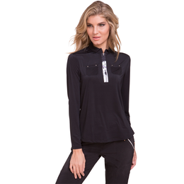 Sunsense Quarter Zip Pull Over with Printed Zipper