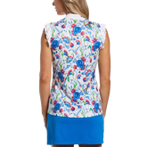 Alternate View 1 of Blue Geo Collection: Painterly Floral Print Sleeveless Golf Shirt
