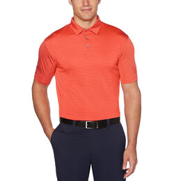 Yarn Dyed Feeder Stripe Short Sleeve Polo Golf Shirt