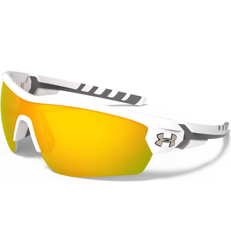 Under Armour Rival Sunglasses - Satin White & Charcoal Gray - Orange Multiflection Lenses