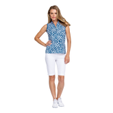 Tranquil Bay Collection: Leopard Print Sleeveless Golf Top