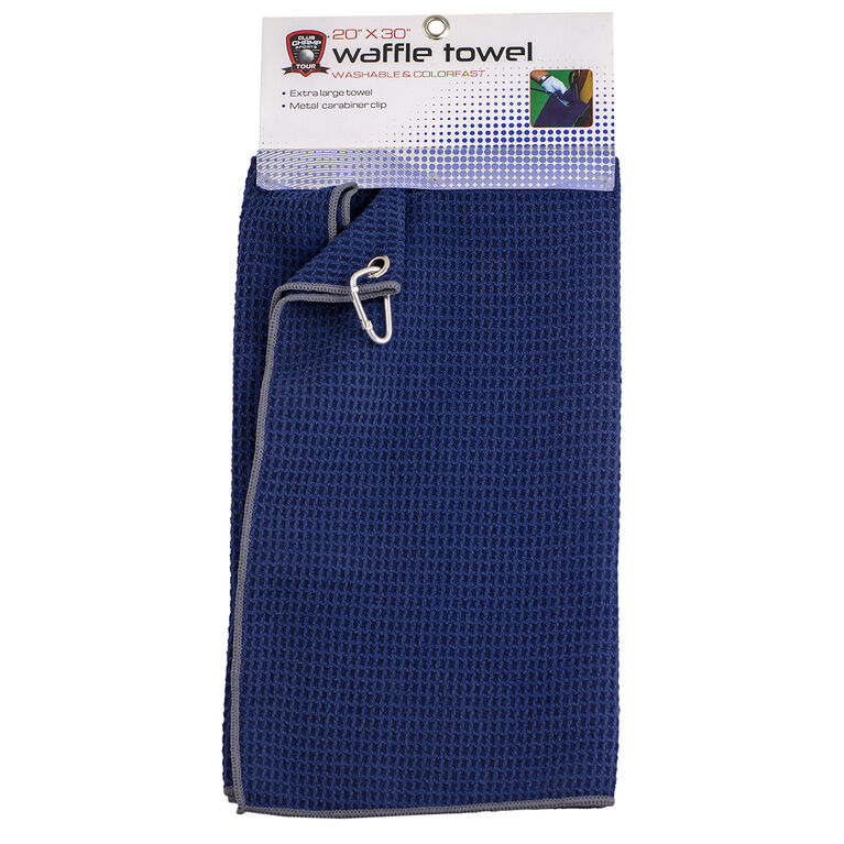 Golf Gifts & Gallery Navy Waffle Towel w/ Grey Trim in package