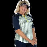 Alternate View 4 of Limonata Collection: Short Sleeve Dot Print Quarter Zip Polo Shirt