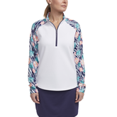 Tropical Collection: Long Sleeve Printed Quarter Zip Pull Over