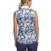 Alternate View 2 of Tropical Collection: Sleeveless Printed Zip Polo
