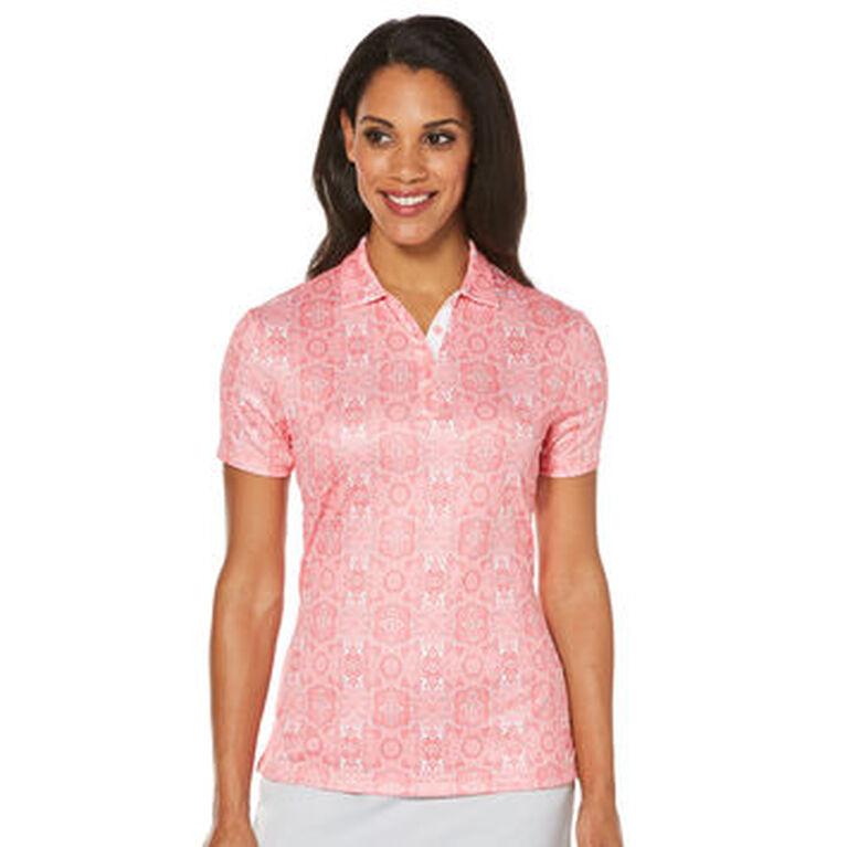PGA TOUR Women's Short Sleeve Floral Print Polo