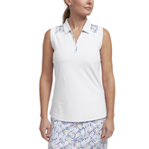 Limelight Collection: Sleeveless Shoulder Print Polo Shirt