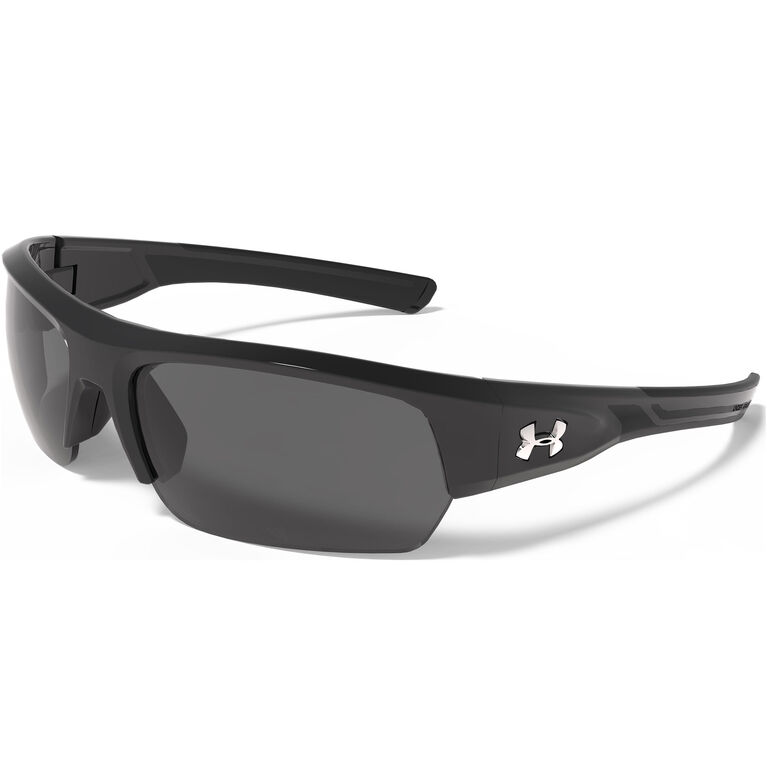Under Armour Big Shot Sunglasses - Shiny Black & Black Frame - Gray Lenses