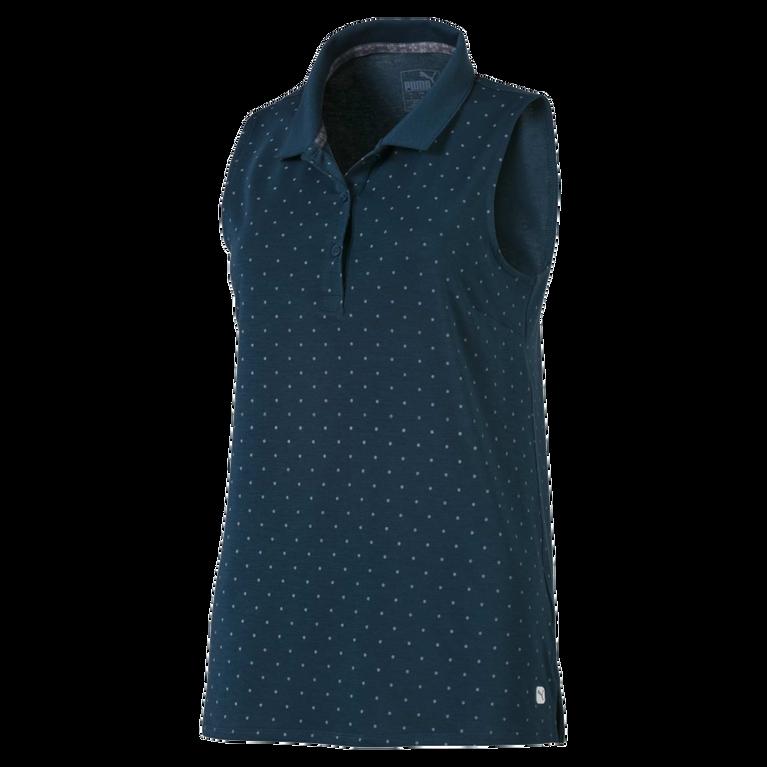 Women's Sleeveless Polka Dot Polo Shirt