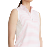 Alternate View 2 of Sleeveless Mesh Striped Quarter-Zip Polo Shirt