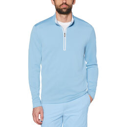 Long Sleeve Earl Mock Quarter Zip Blue Front