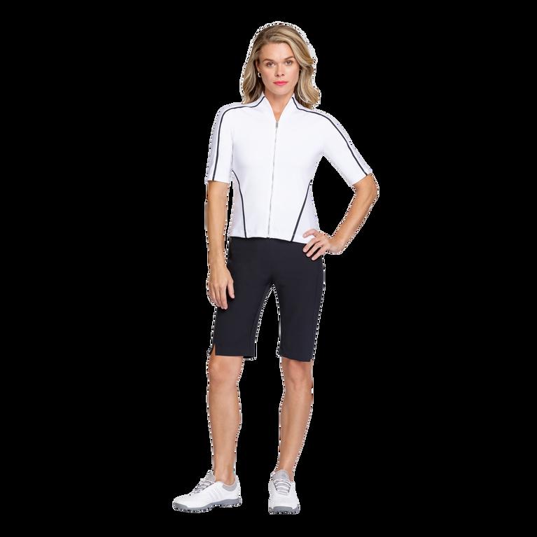 Essentials Gracelyn Elbow Sleeve Full Zip Top