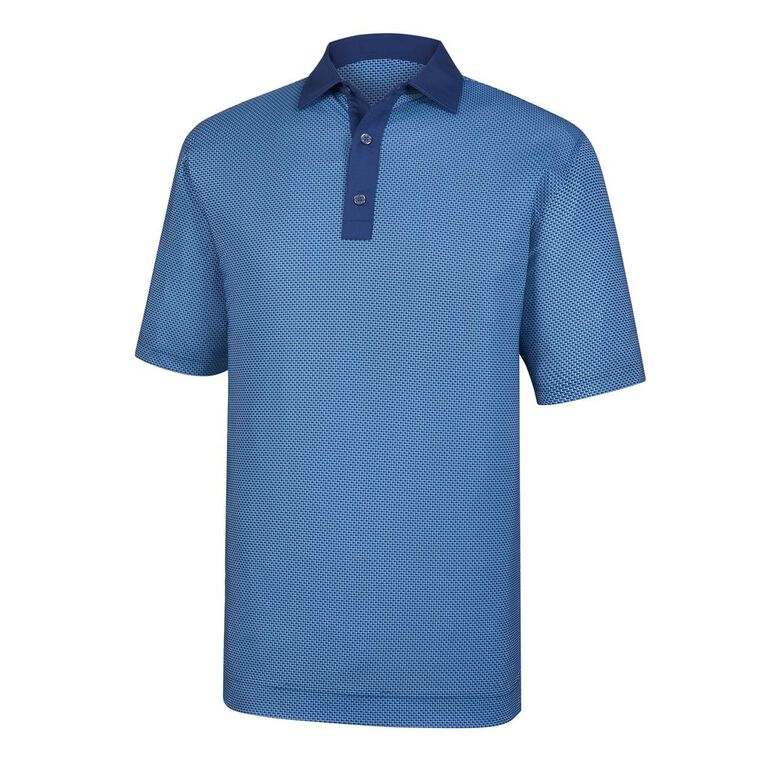 Lisle Basketweave Print Self Collar Polo