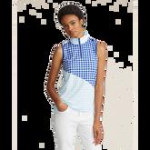 Gingham Quarter-Zip Sleeveless Golf Polo Shirt