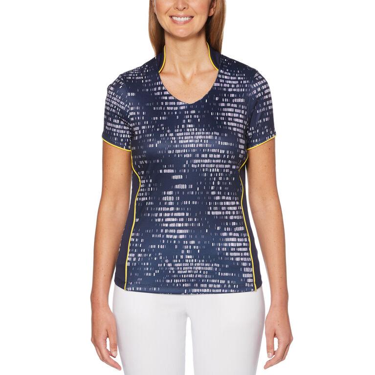 Lilac and Navy Group: Mini Brush Stroke Allover Print Short Sleeve Golf Polo Shirt