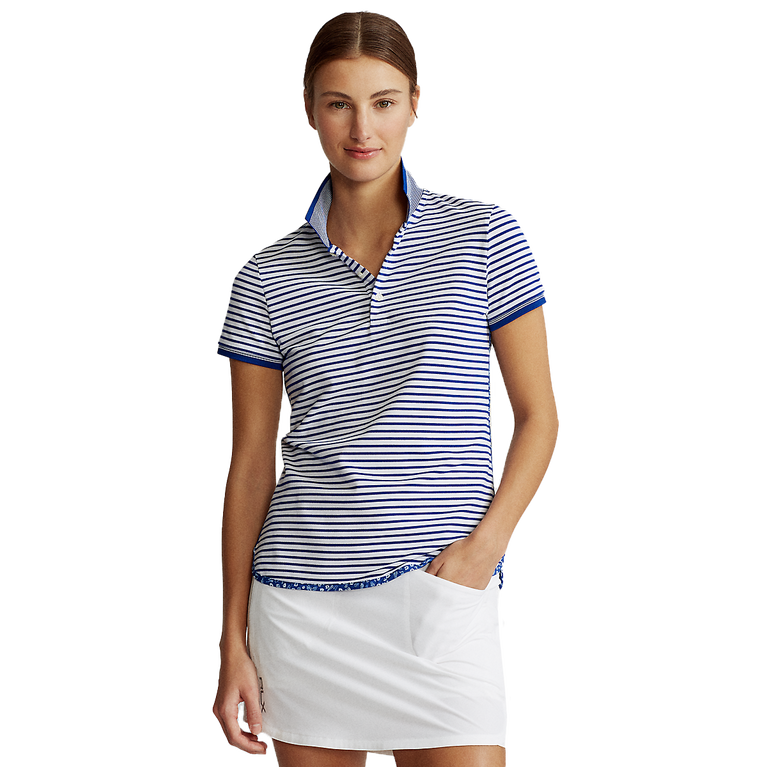 Short Sleeve Striped Piqué Polo Shirt