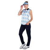 Alternate View 4 of Cape May Powder Collection: Sleeveless Argyle Polo Shirt