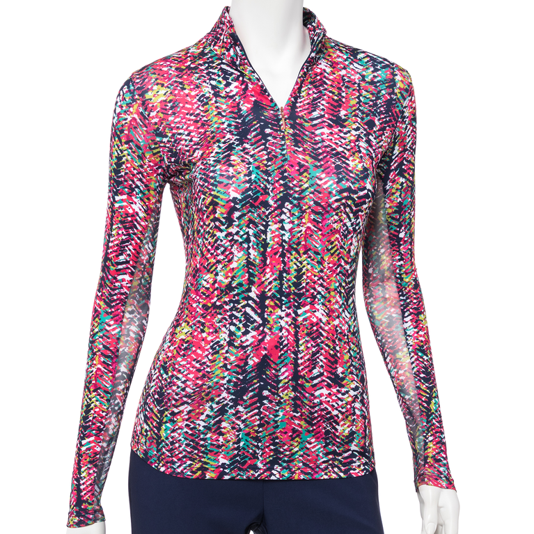 The Gemstones Collection: Long Sleeve Texture Print Quarer Zip Polo