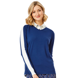 Seville Collection: Long Sleeve Track Stripe Pullover