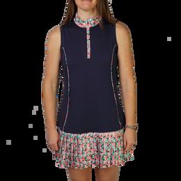 Flamingo Collection: Sleeveless Print Pleated Hem Dress