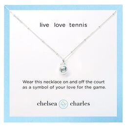 Silver Tennis Charm Necklace