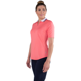 Alternate View 2 of Pink Lady Collection: Short Sleeve Zip Front Polo Shirt