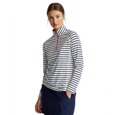 Airflow Striped Long Sleeve Quarter-Zip Pull Over