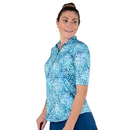 Hot Toddy Collection: Short Sleeve Mosaic Print Polo Shirt