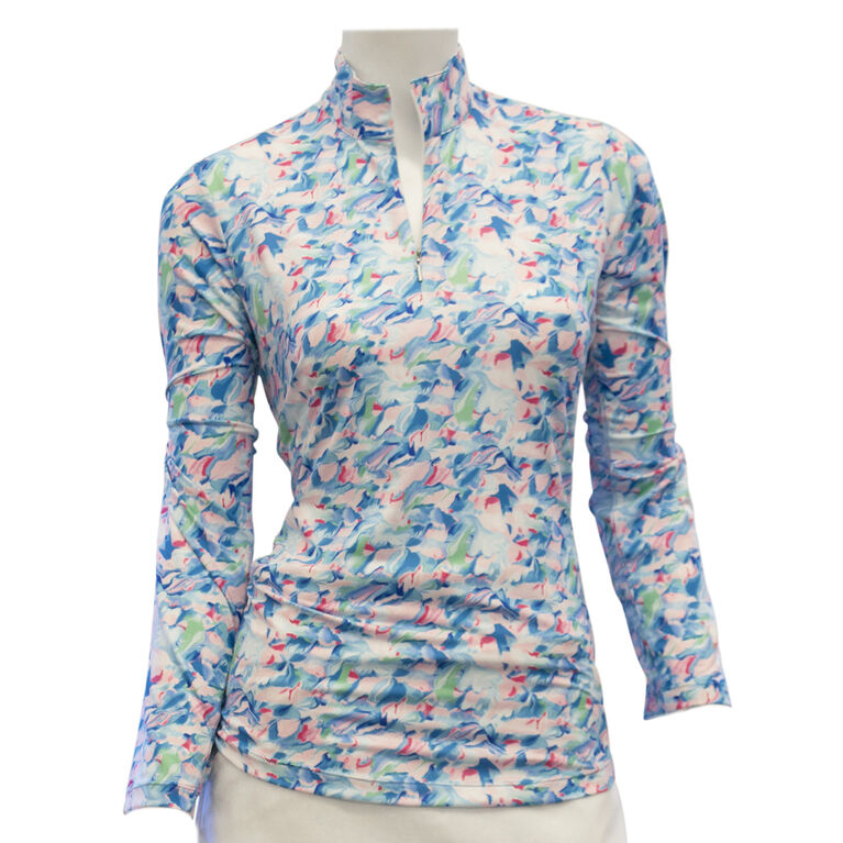 EP Pro Long Sleeve Abstract Marble Print Zip Mock Polo