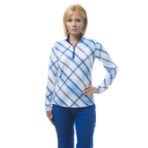 SolCool Long Sleeve Hopscotch Plaid Quarter Zip Pull Over