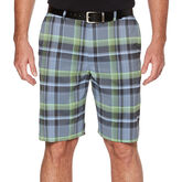 PGA TOUR Men's Flat Front Madras Plaid Yarn Dye Short w/ Active Waistband