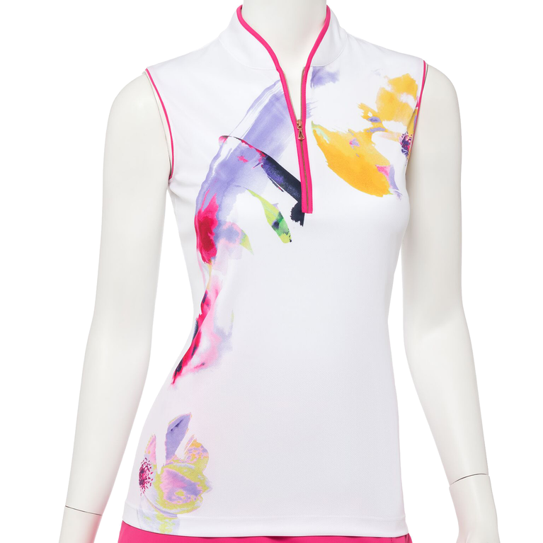 Soleil Collection: Sleeveless Watercolor Floral Mock Polo