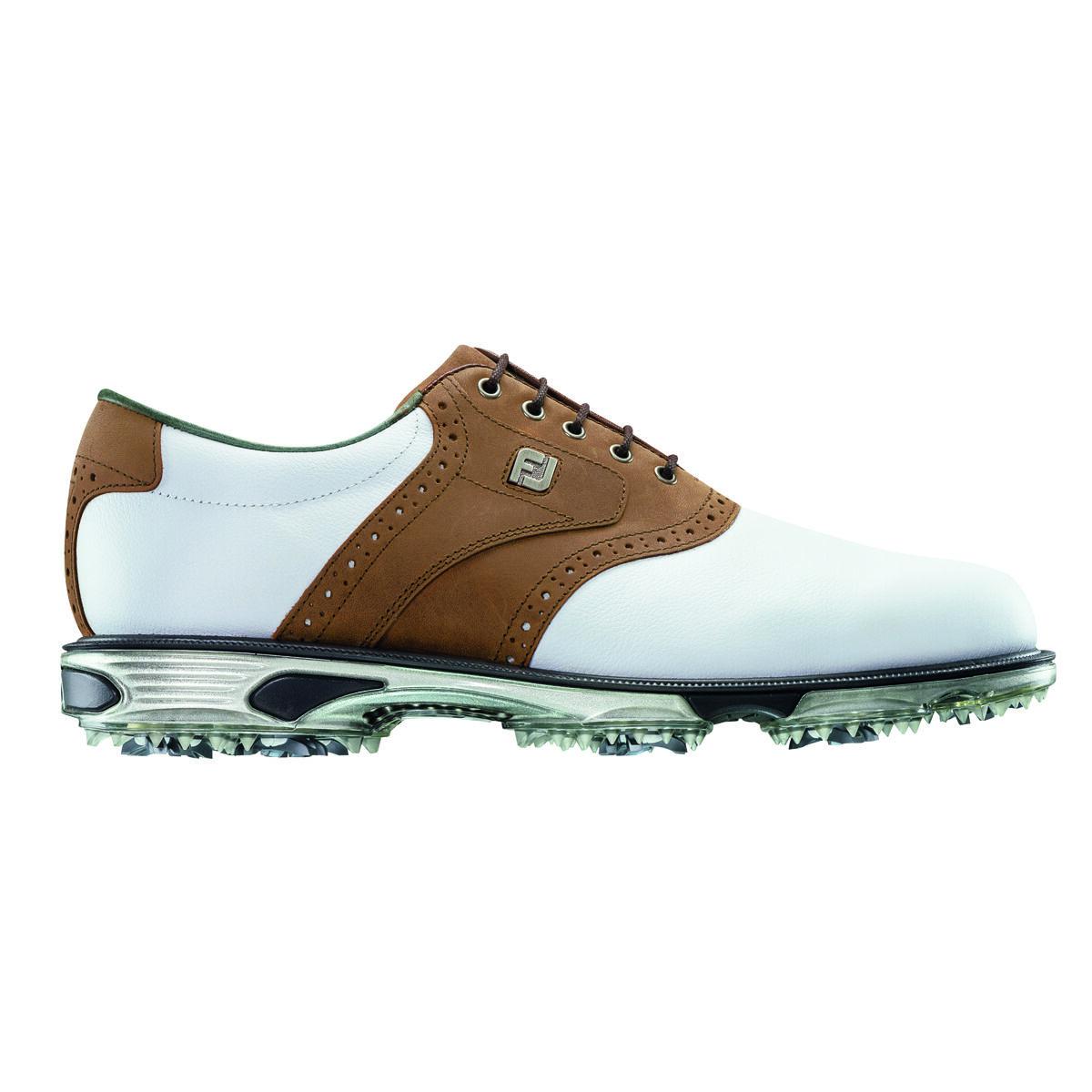 6903e365 FootJoy DryJoys Tour Men's Golf Shoe - White/Brown | PGA TOUR Superstore