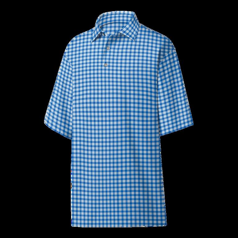 Lisle Plaid Print Self Collar Polo