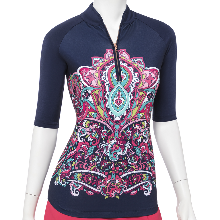 The Gemstones Collection: Paisley Print Zip Mock Polo