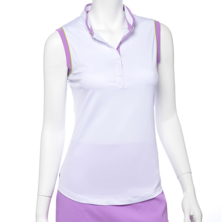 Club Med Group: Sleeveless Mesh Blocked Contrast Trim Stand Color Polo