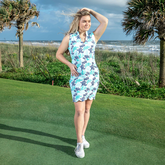 Mystic Sleeveless Coral Print Scallop Dress