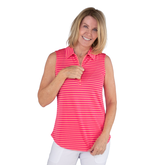 Alternate View 1 of Pink Lady Collection: Sleeveless Striped Polo Shirt
