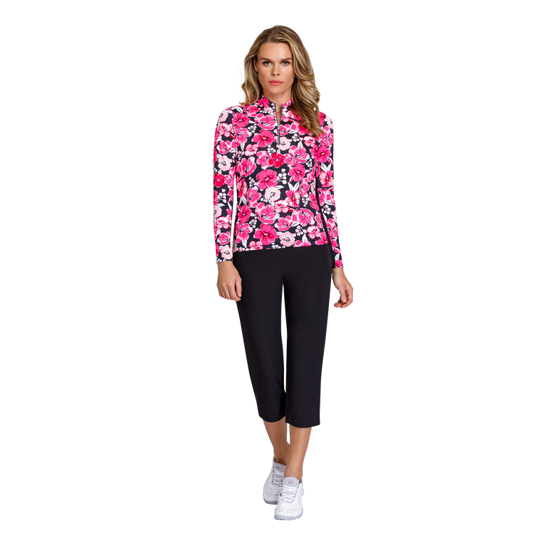Paradise Collection: Floral Quarter Zip Long Sleeve Pull Over