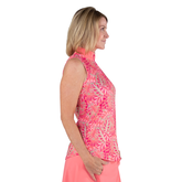 Alternate View 2 of Pink Lady Collection: Sleeveless Leaf Print Mock Shirt
