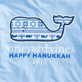 Vineyard Vines Long Sleeve Hanukkah Fair Isle Whale Tee
